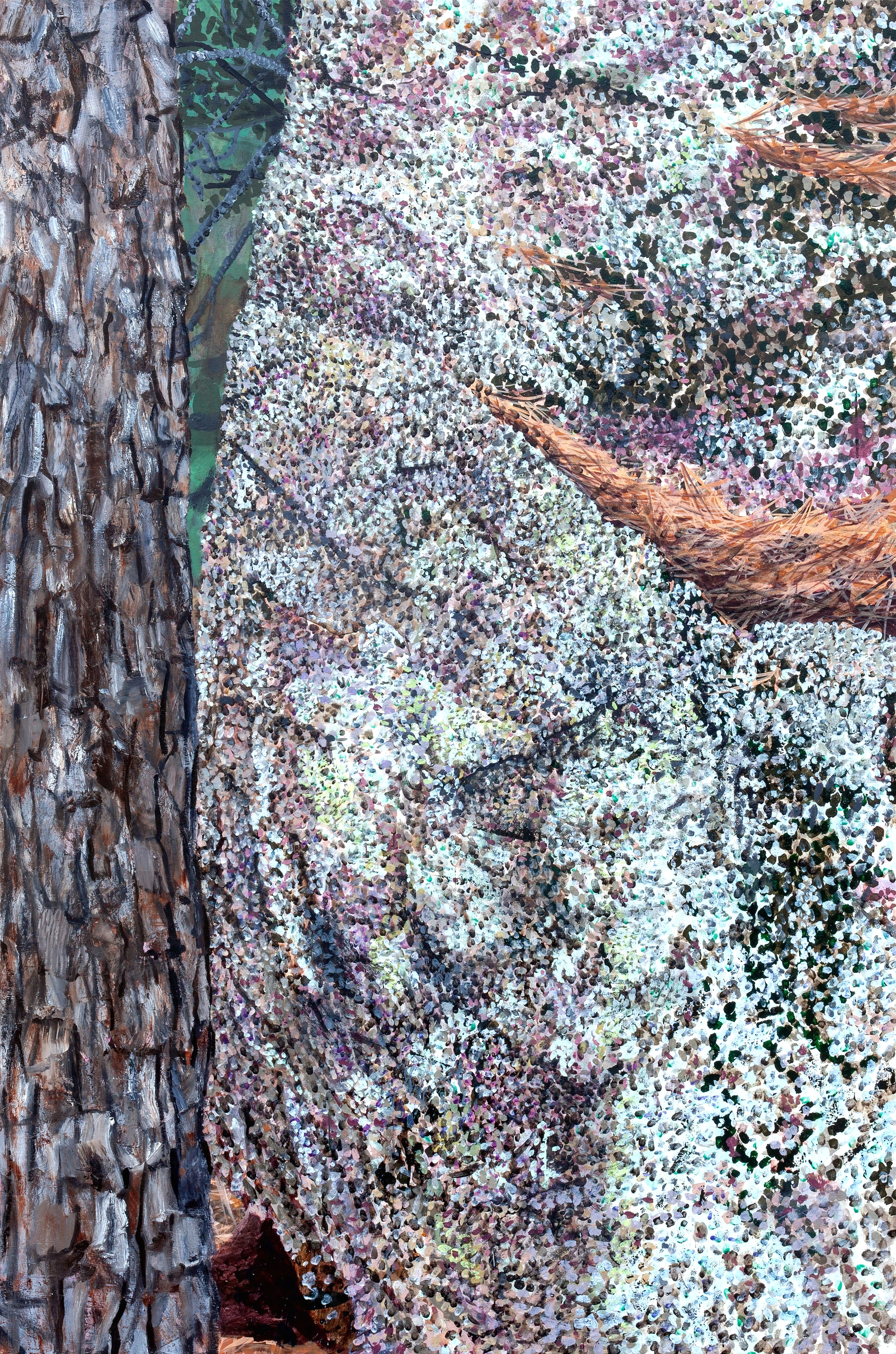 Rock with Tree , 2019, acrylic and oil on canvas, 72 x 48 inches