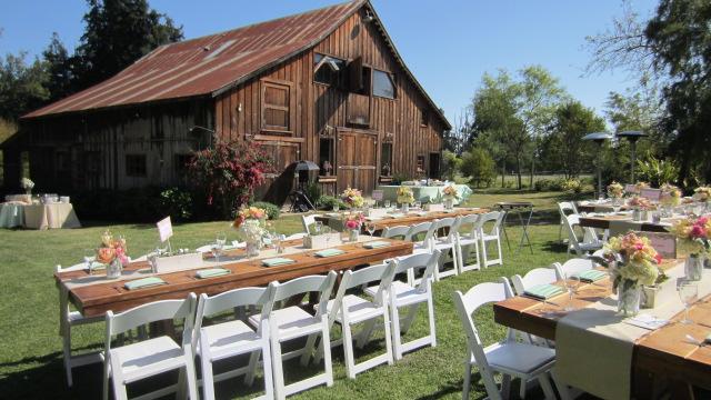 Rancho Soquel, farm tables, white chairs