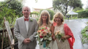 A very proud mom and dad getting ready to walk Mallory down the aisle to meet her groom