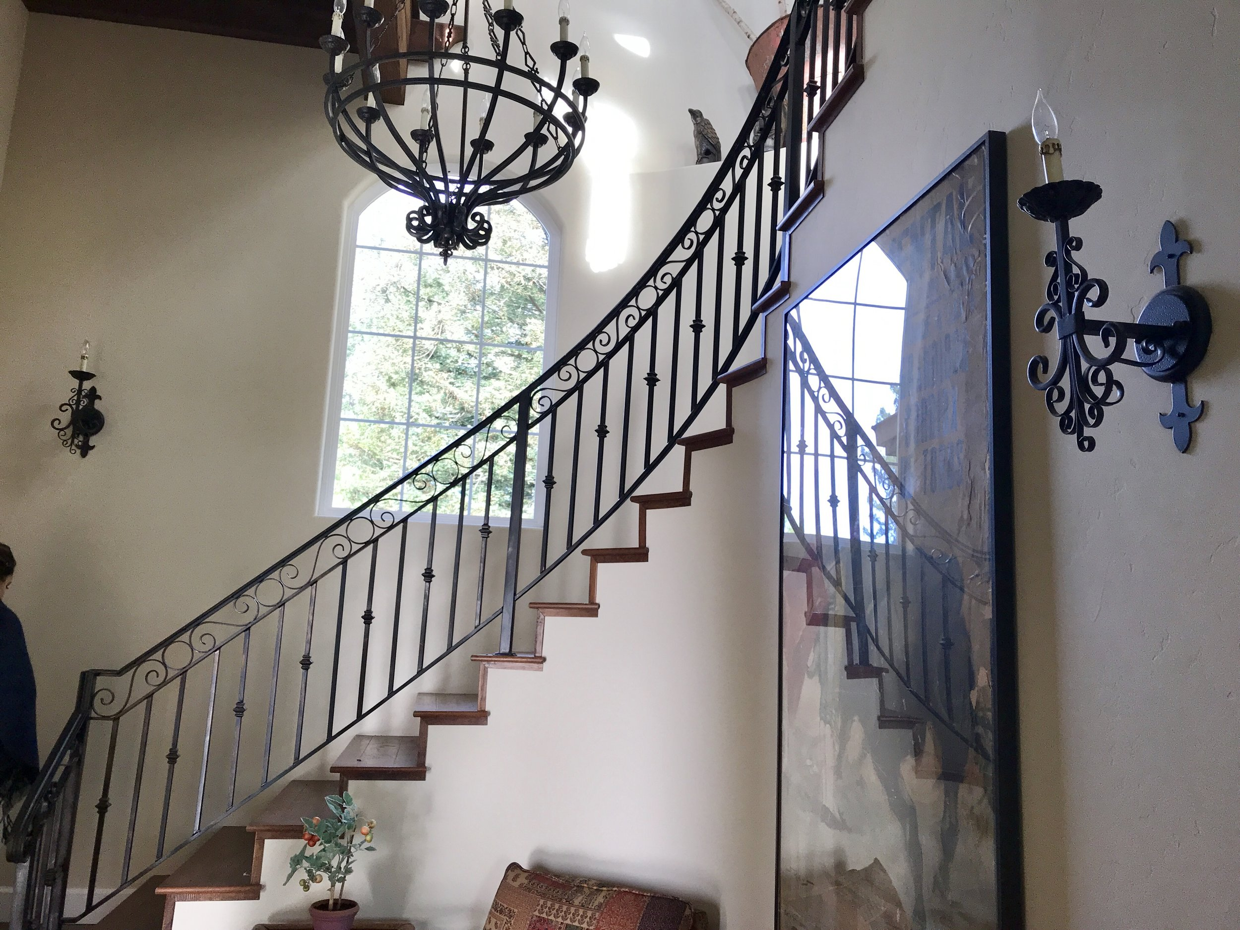 staircase inside guest cottage