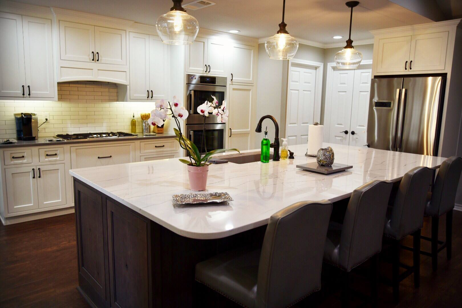 Cambria Countertops, Shiloh Cabinetry, Bosch Home Appliances,  Masonite Doors ,  Karndean Flooring , and  Coronado Stone Products make this local project a real treat for us to showcase.