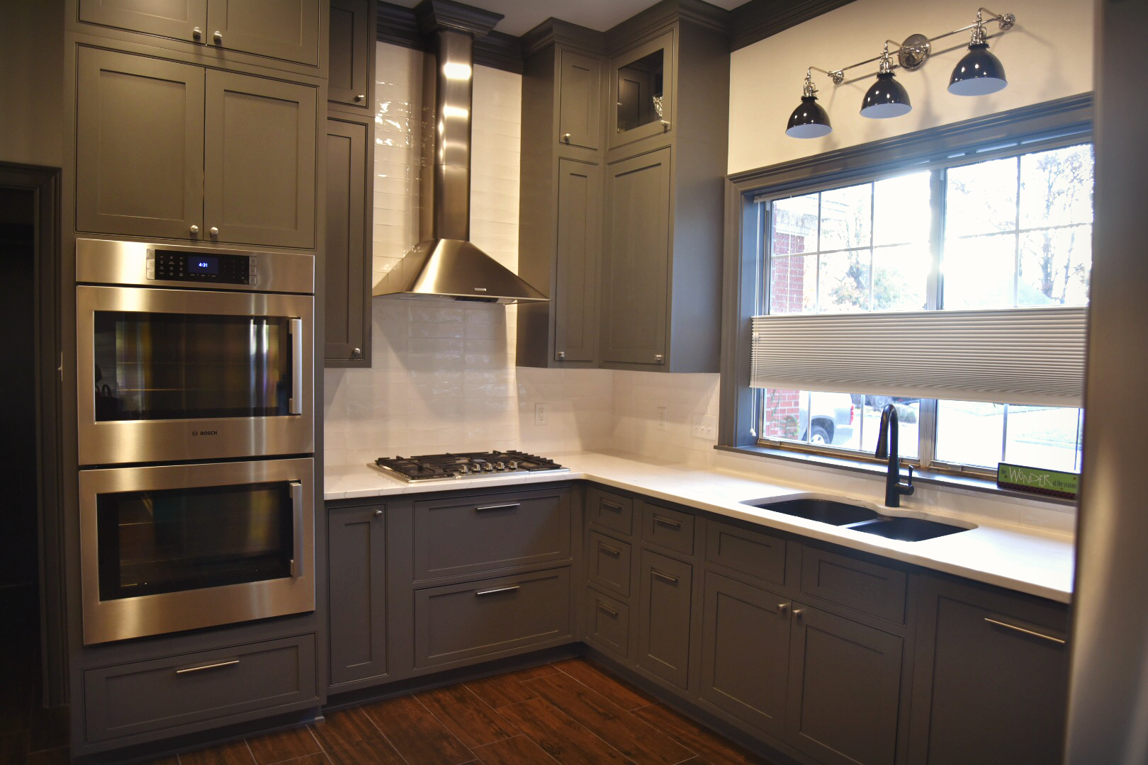 Bosch  appliances,  Cambria  countertops, and Shiloh cabinetry are included in this local kitchen project...