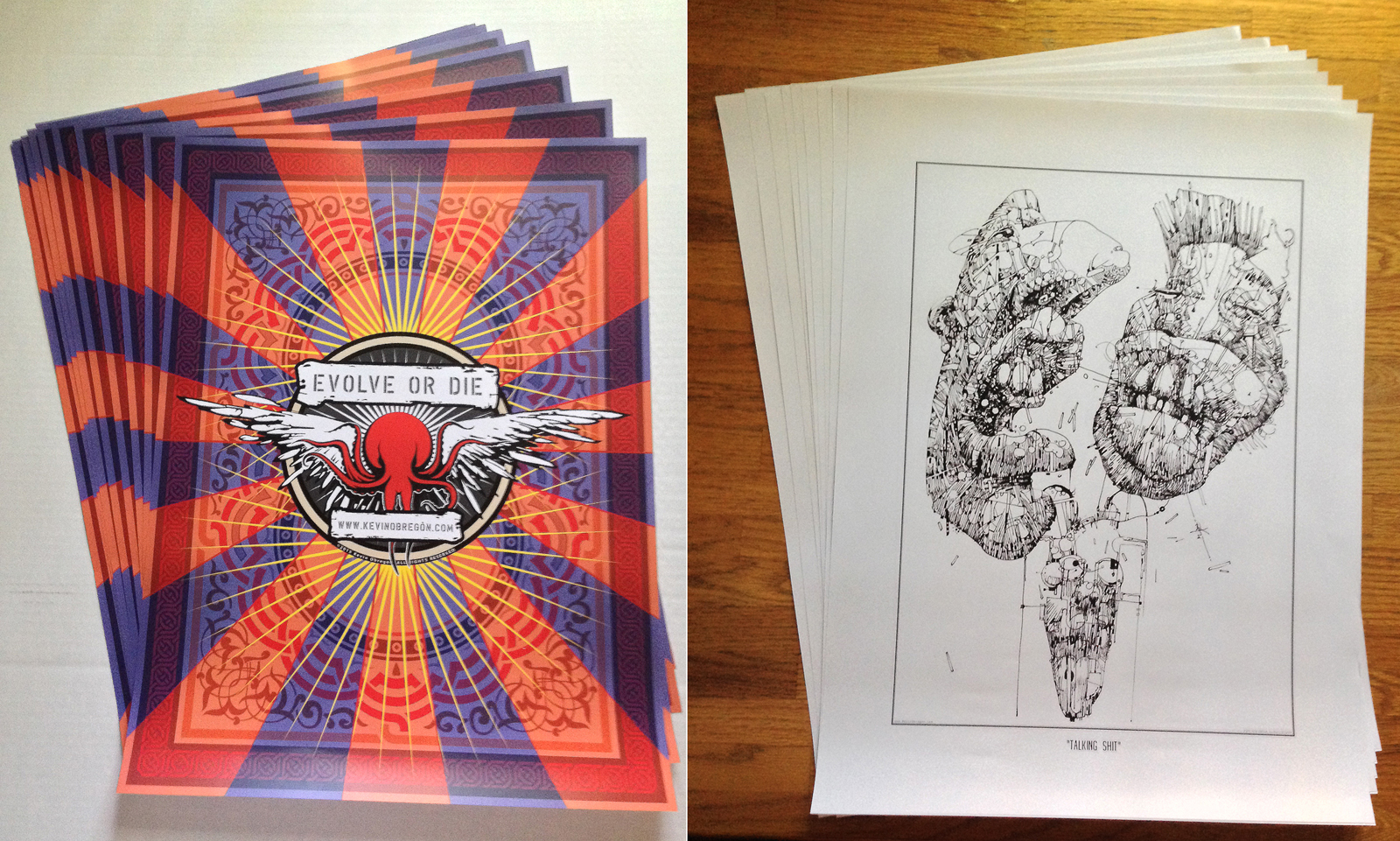 """Evolve or Die""  and  ""Talking Shit""  posters 18""w X 24""h each   $20/ea"