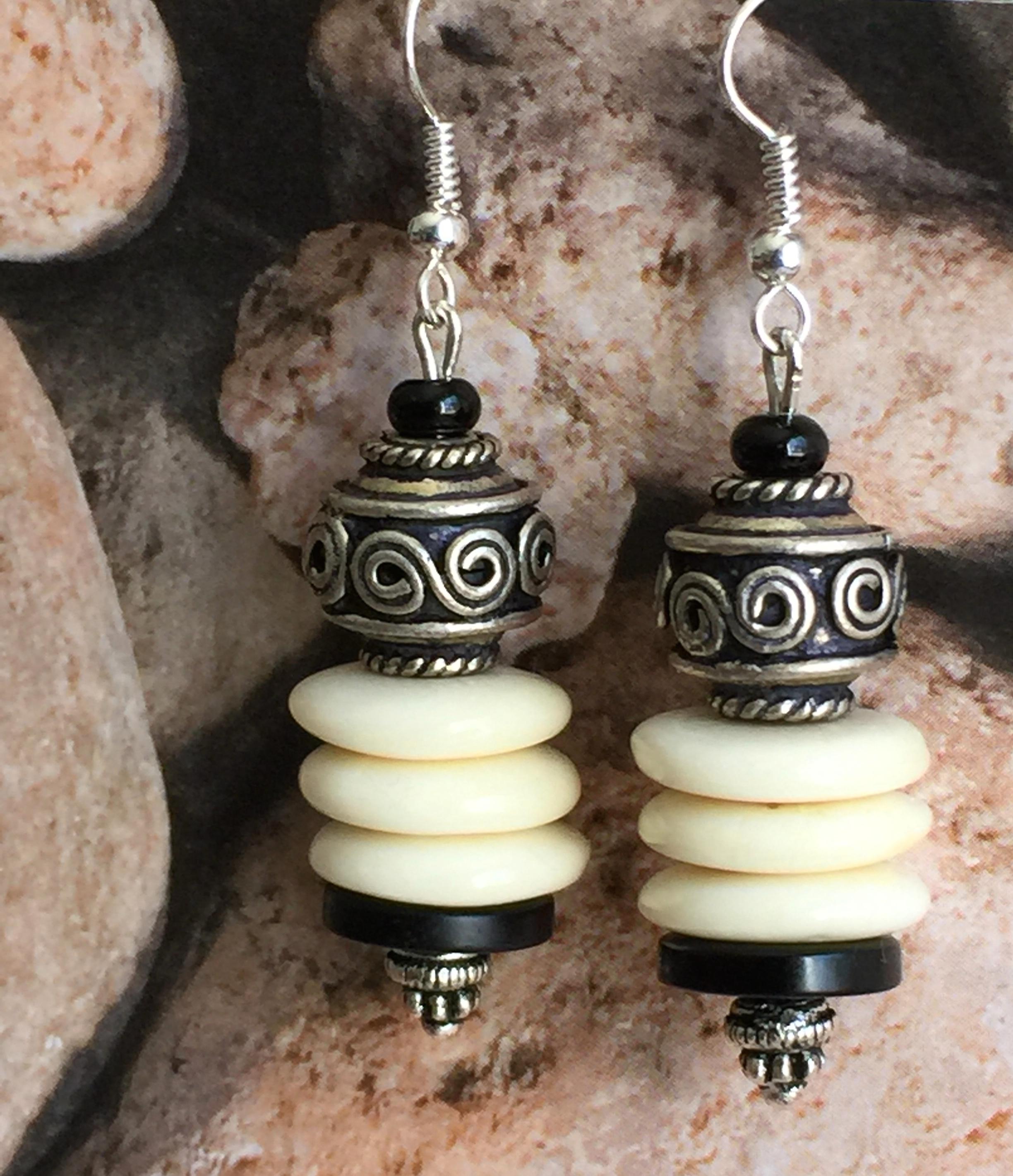 Exotic Tribal Natural Ivory Bone earrings