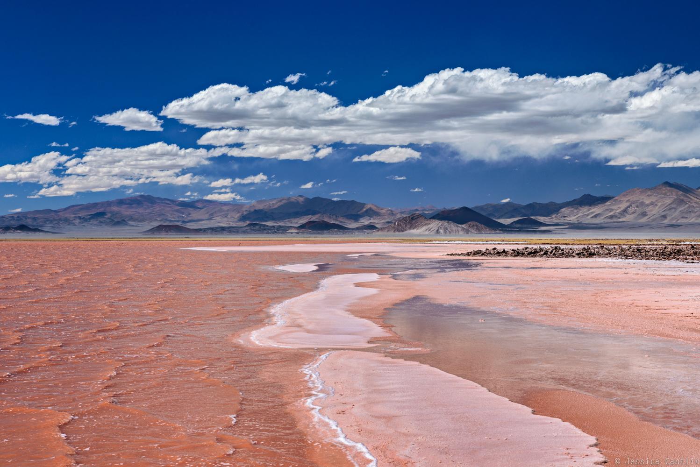Red lake behind Carachi Pampa