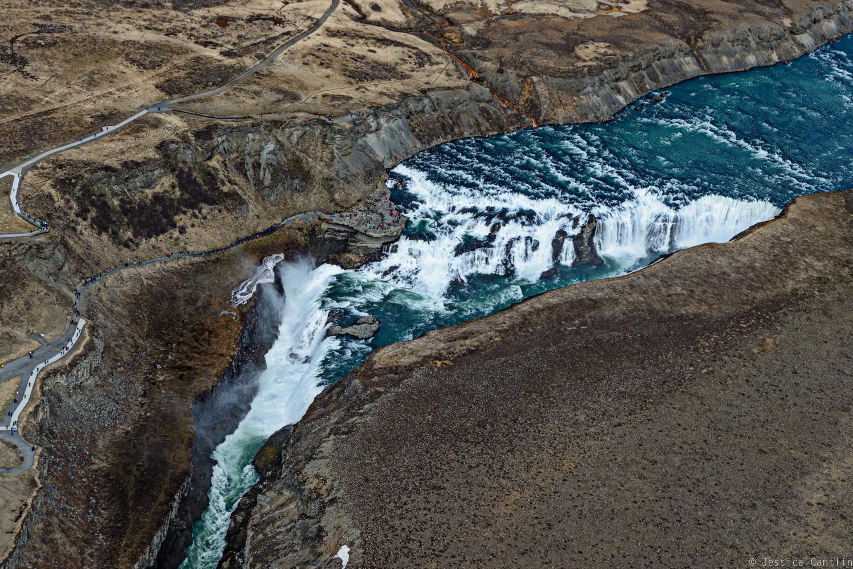 Aerial view of Gullfoss Waterfall