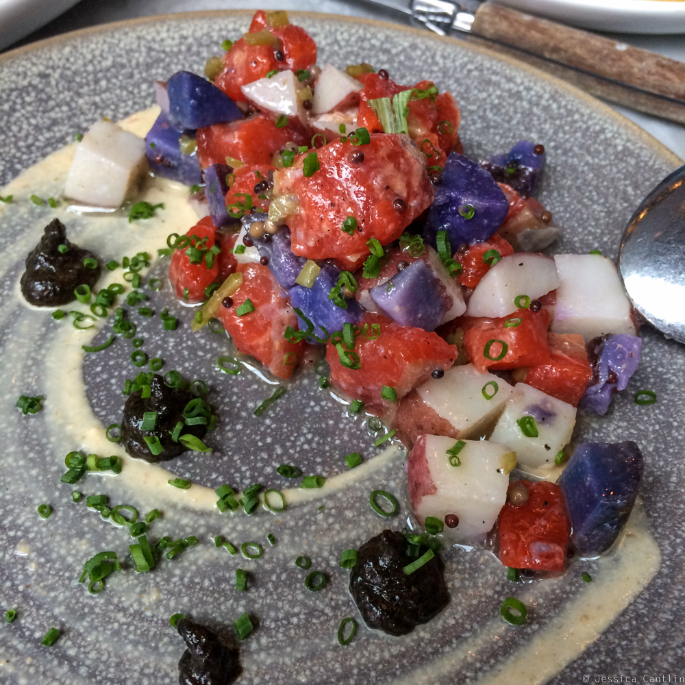 Salmon Tartare and Summer Potato Salad at Joule