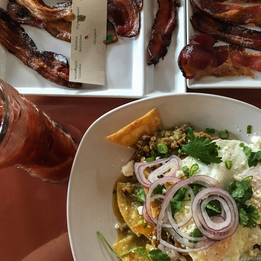 Chilaquiles, Bacon, and Bloody Mary's at Cheeky's