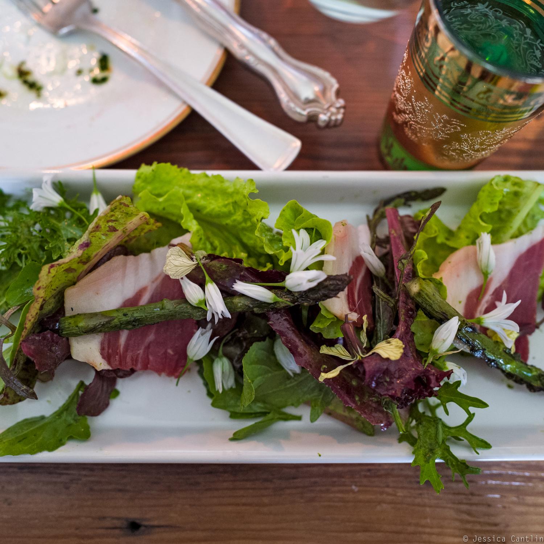 Cotto and asparagus salad at Circle Rock Ranch.