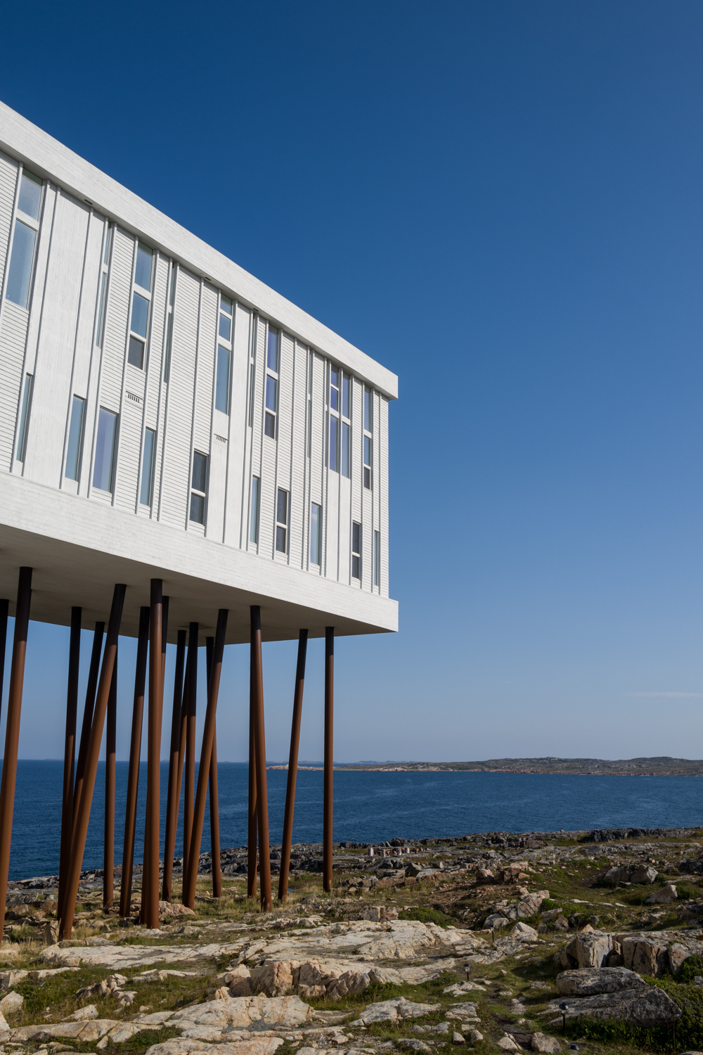 The magnificent structure of Fogo Island Inn designed by Architect Todd Saunders.