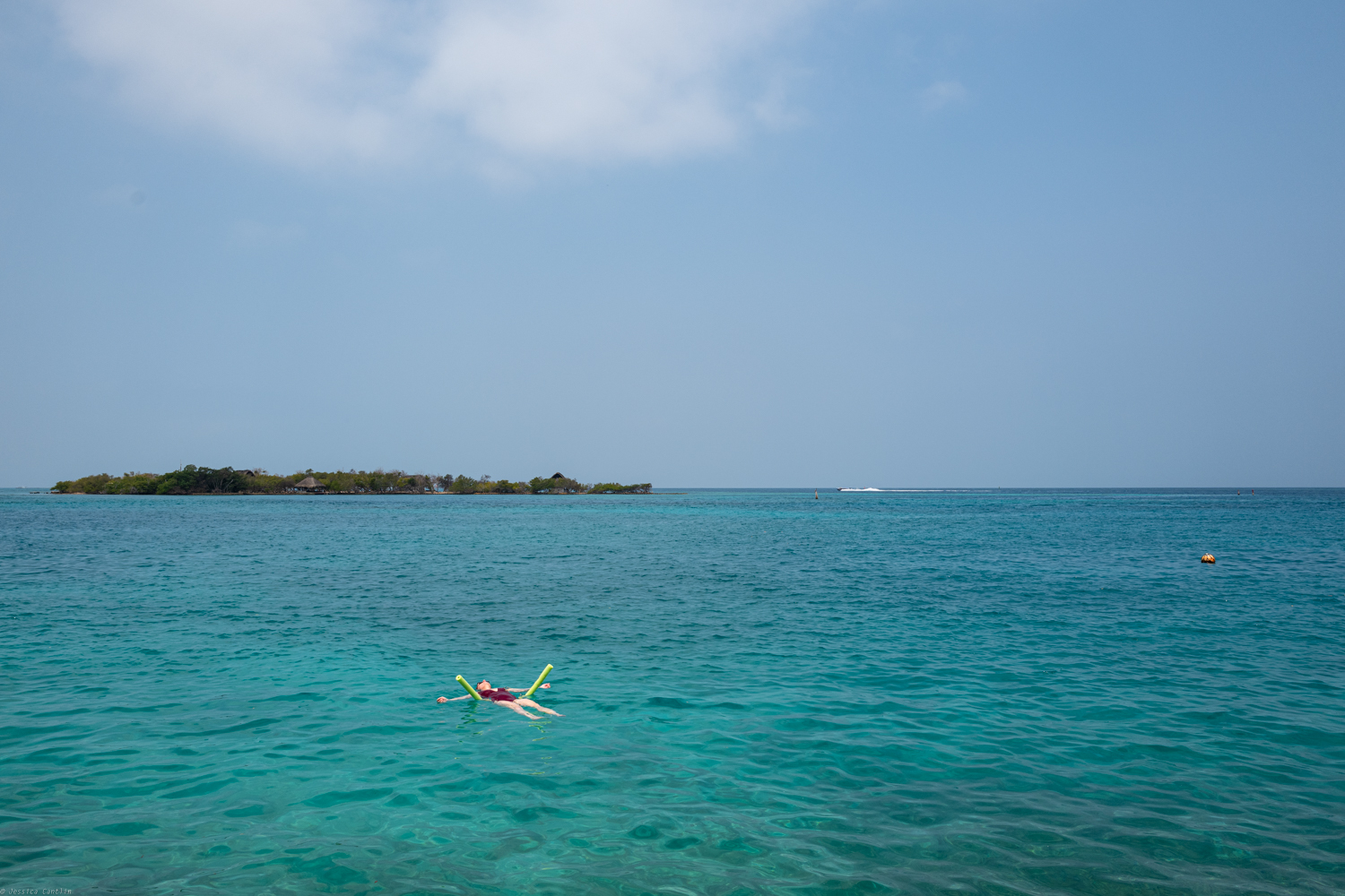 Floating in the majestic Caribbean Sea