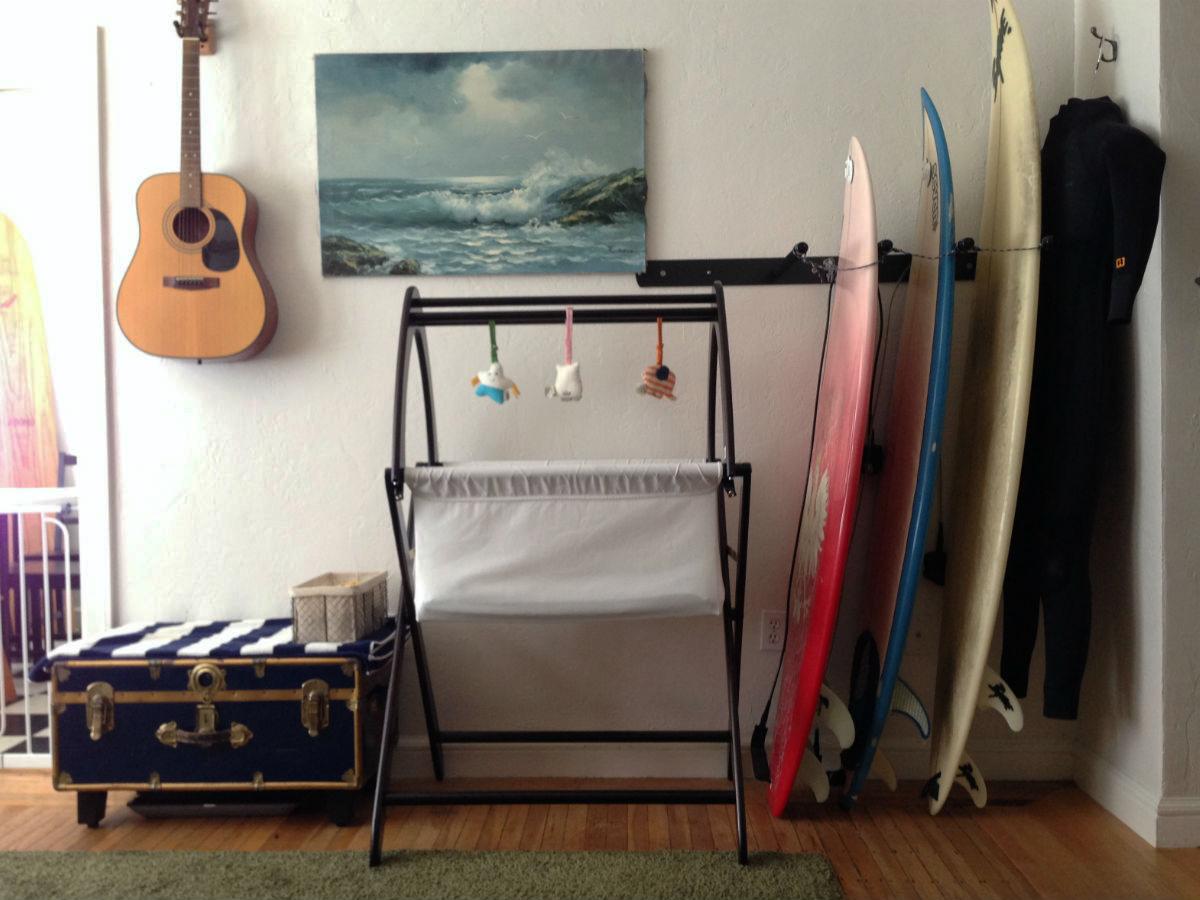 The beautiful Cariboo basinett, flanked by Greg's surfboards. // Photograph courtesy of Greg Kroleski.