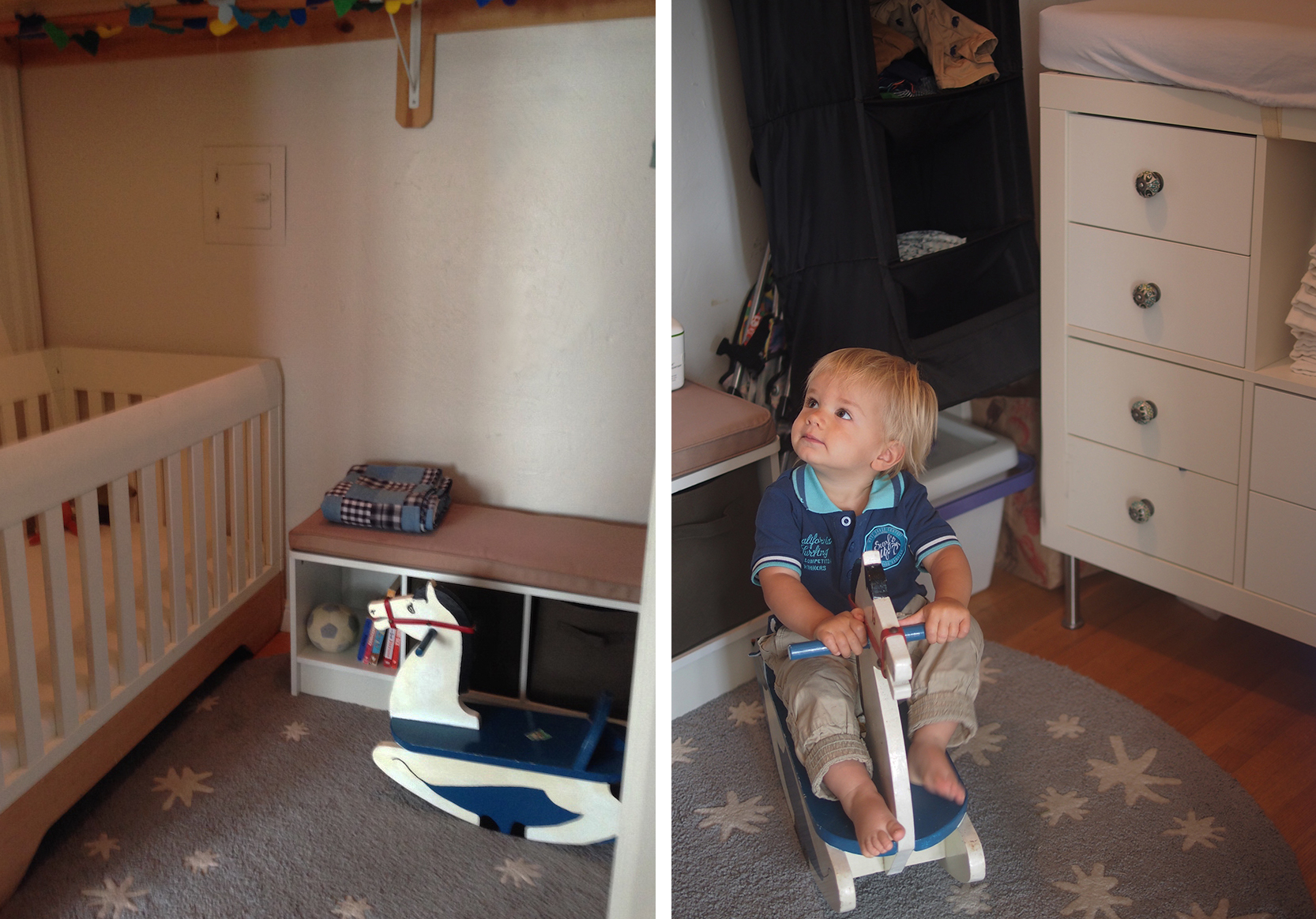Hunter's nursery tucks neatly away into the closet. Fitting a full-sized crib, changing table, clothing and storage.
