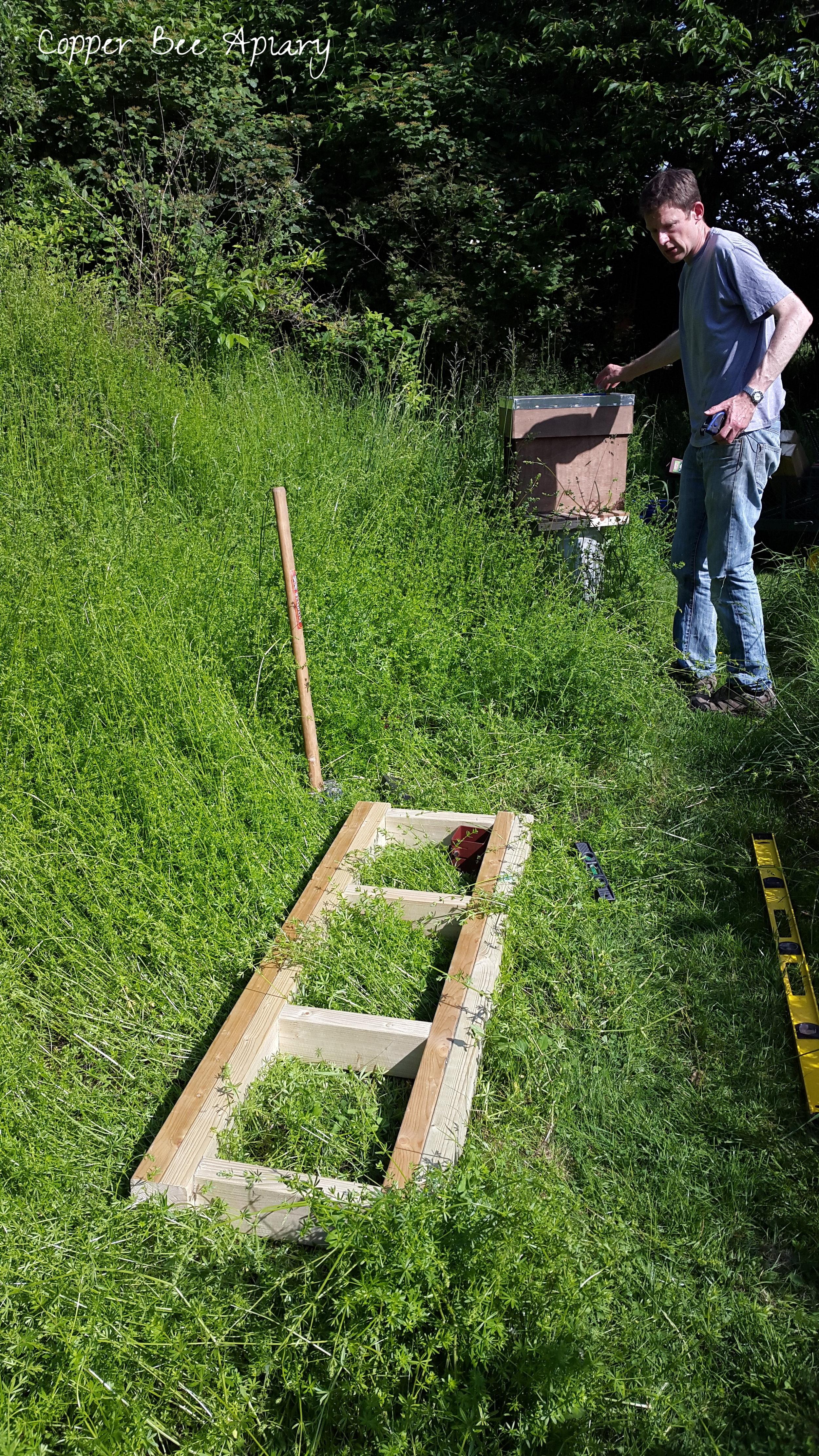 Positioning, sledgehammering, measuring, straightening...