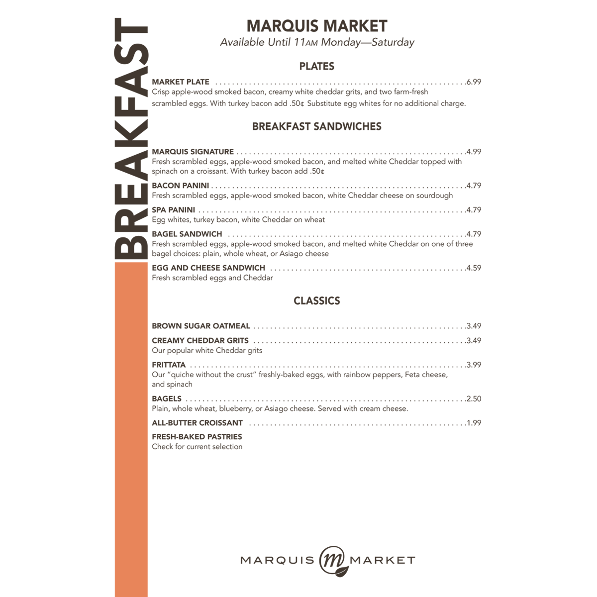 Marquis Market   Marquis Market was an urban cafe located in Fayetteville, North Carolina. The cafe wanted a design that matched the urban atmosphere the cafe entailed. The company I worked for was hired to design the menus. I used InDesign to create the layout.