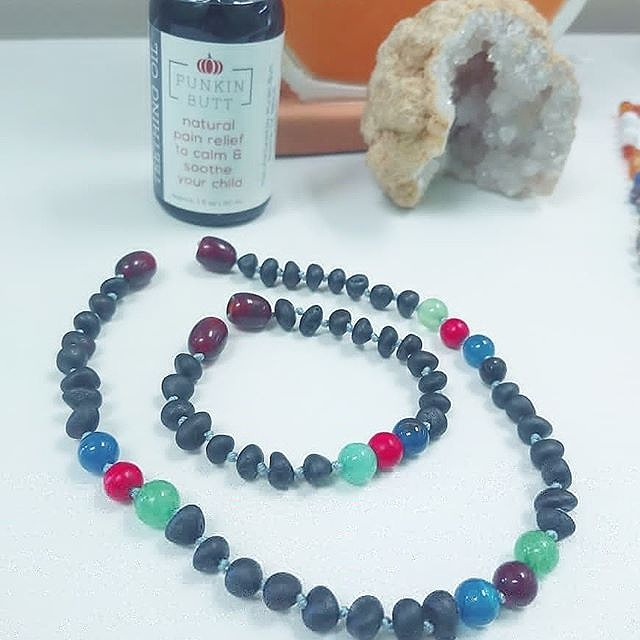 Raw Cherry Amber +Gemstones Hand-Crafted at Grow Eco Baby