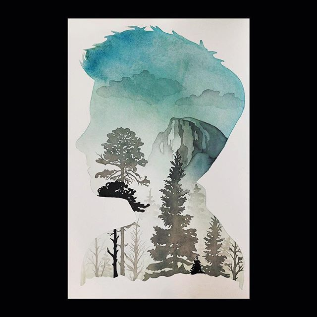 💚💙 My favorite portrait I painted last year. Yosemite has a special place in my heart, our family would go there, my dad took us camping and hiking there. I've spent a good amount of time in the back country. It the most beautiful place on earth. @ceebeeracer @brookabell Thank you for letting me paint this, it was magical 💙💚. . . . .143sev #watercolor #watercolors #watercolours #watercolour #painting #art #artist #ink #inks #drawing #illustration #illustrations #colorpencil #colorpencils  #sketch #charcoal #charcoals #penandink #oilpainting #watercolorpainting #acrylicpainting #nawden #lordcolinoneal #colinoneal