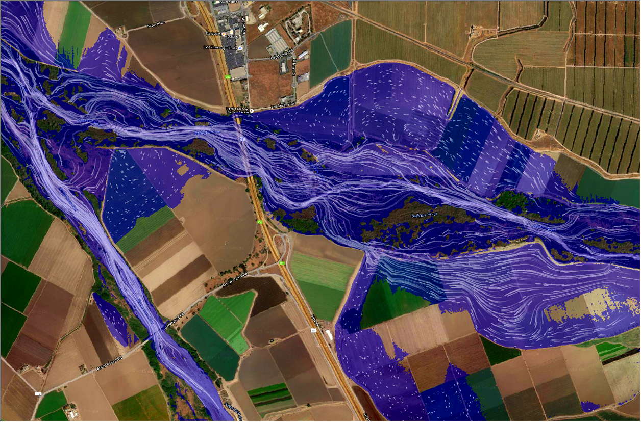 FlowWest   performed cutting-edge computer flood simulations of the Salinas River that clearly demonstrated how the river behaves during storms. Based on our analyses,   FlowWest   and The Nature Conservancy, in close collaboration with farmers and public agencies, developed a novel vegetation removal approach based on river geomorphology and hydraulics.