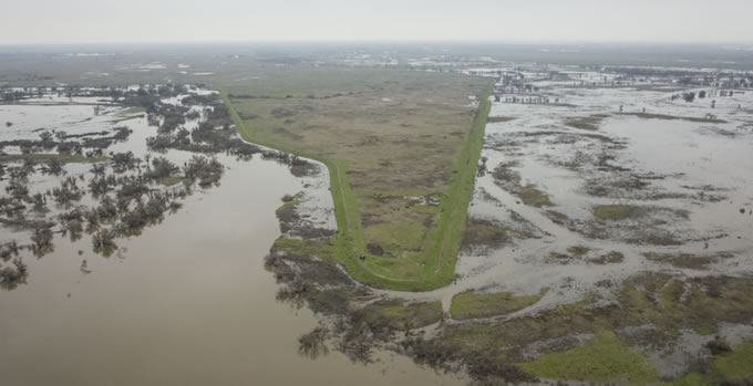 Flooding in 2017 surrounds a large, disconnected parcel at Great Valley Grasslands State Park (photo courtesy of Daniel Nylen, American Rivers)