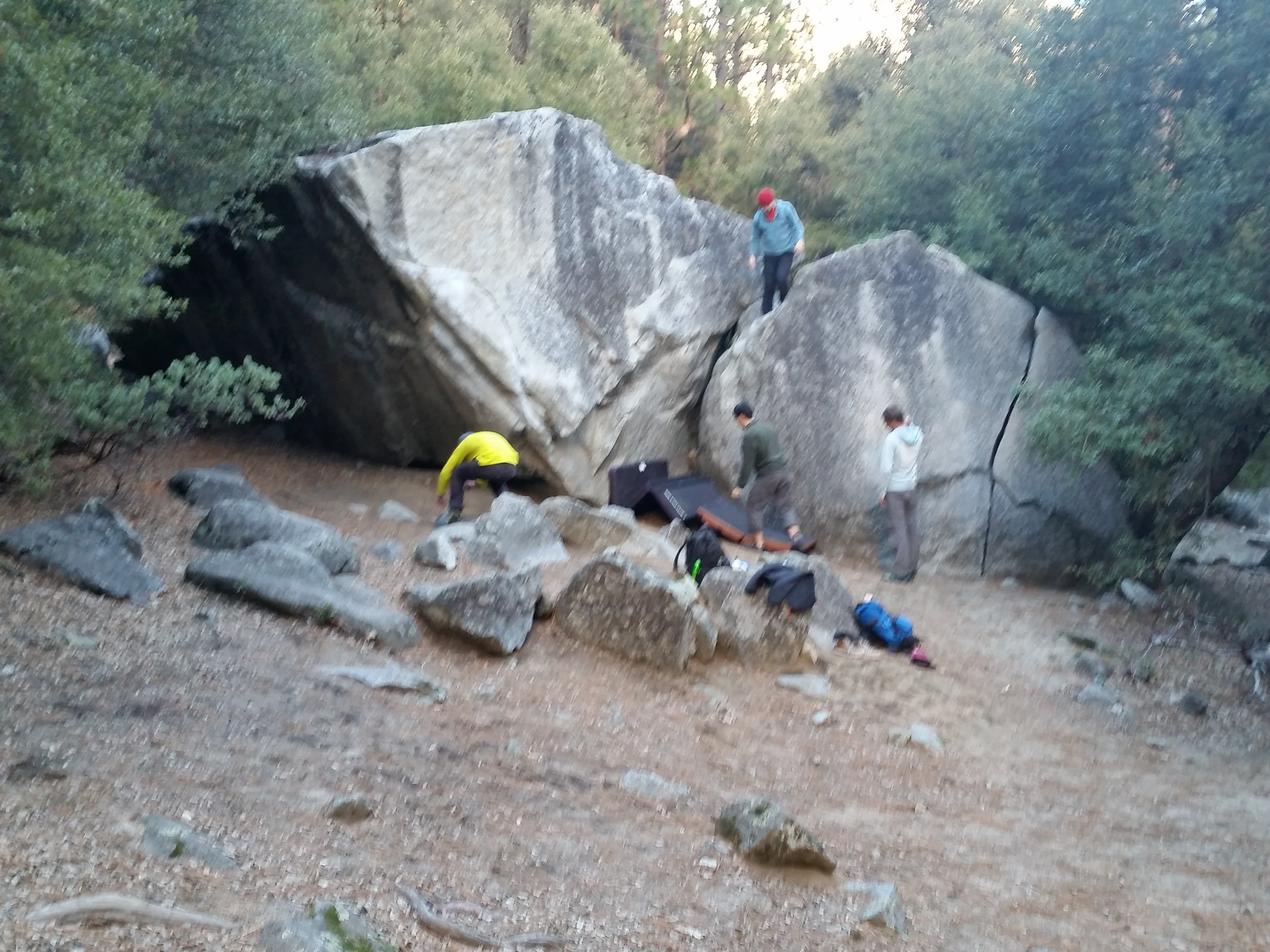 Nary a boulder was free of climbers, pads and gear.