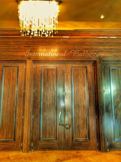The doors to the International Ballroom are chained shut.
