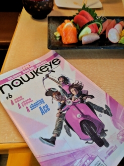 Catching up on my Hawkeye backlog over sushi in the Inner Sunset.