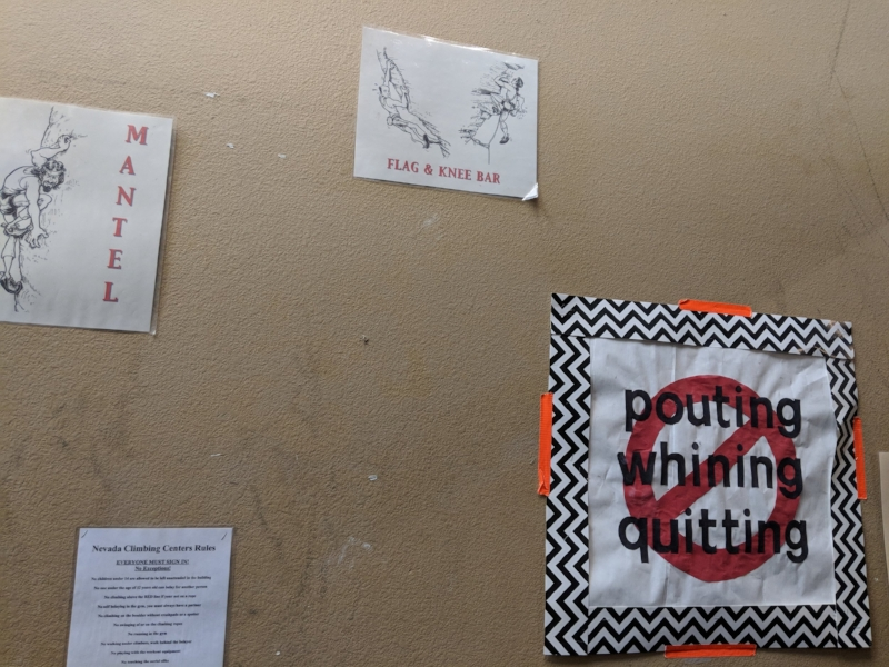 Solid advice from the Nevada Climbing Center walls.