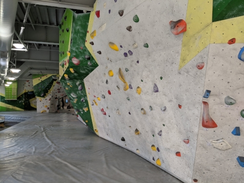 The entire upstairs floor is boulder-o-rama. Super cool!