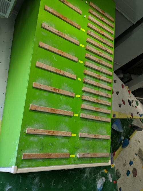 Have started to use campus boards as interim strength training tools in the middle of my climbing sessions: One Five Nine or Bust.