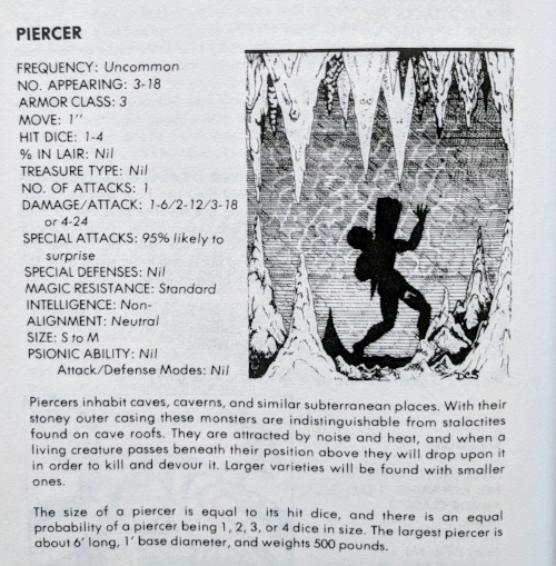 Definitely 95% likely to surprise. Never realized flesh-eating stalactites were monsters to be encountered in Dungeons & Dragons. Thank you Gary Gygax!
