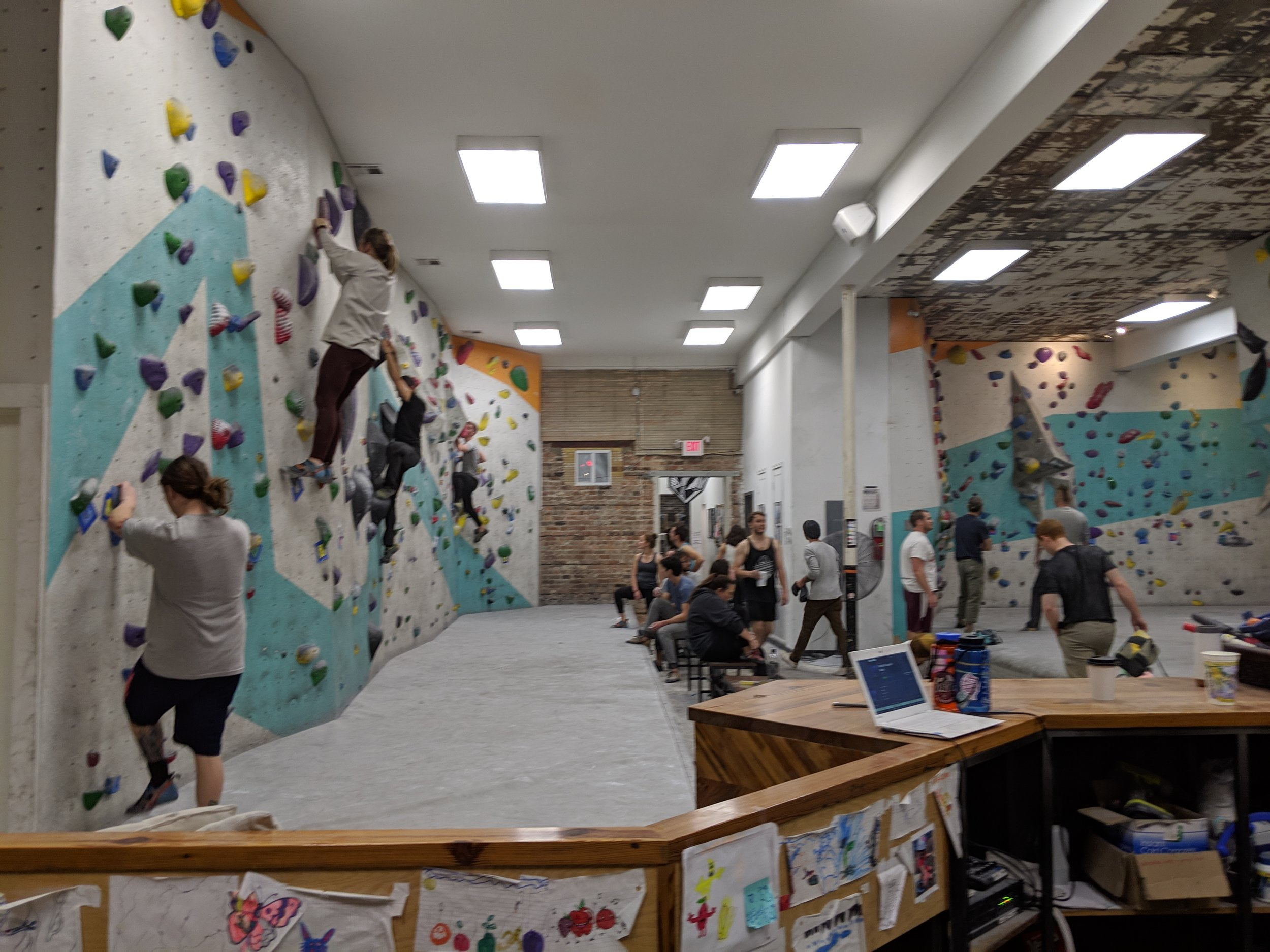 Fun to imagine what the previous tenant (which feels like it was a general store of some sort) looked like before these climbing walls were put in.