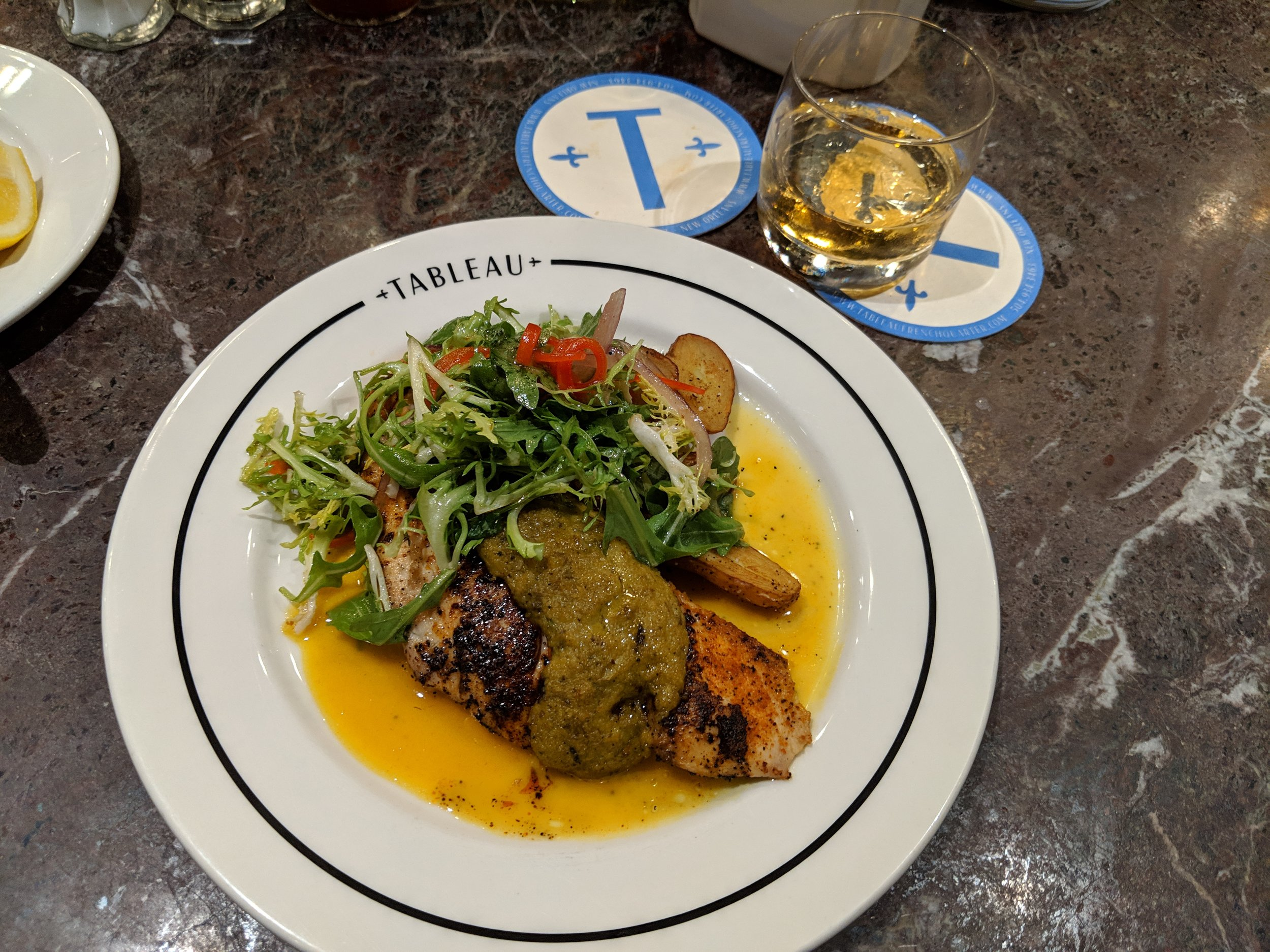 I managed to make it to Tableau before the kitchen closed and enjoyed my post-climb feast of local redfish with a greens salad and an Angel's Envy bourbon. I ended dinner refreshed from my evening climb, spirits lifted from the delicious meal and ready for a couple of days of conference-going by the river.