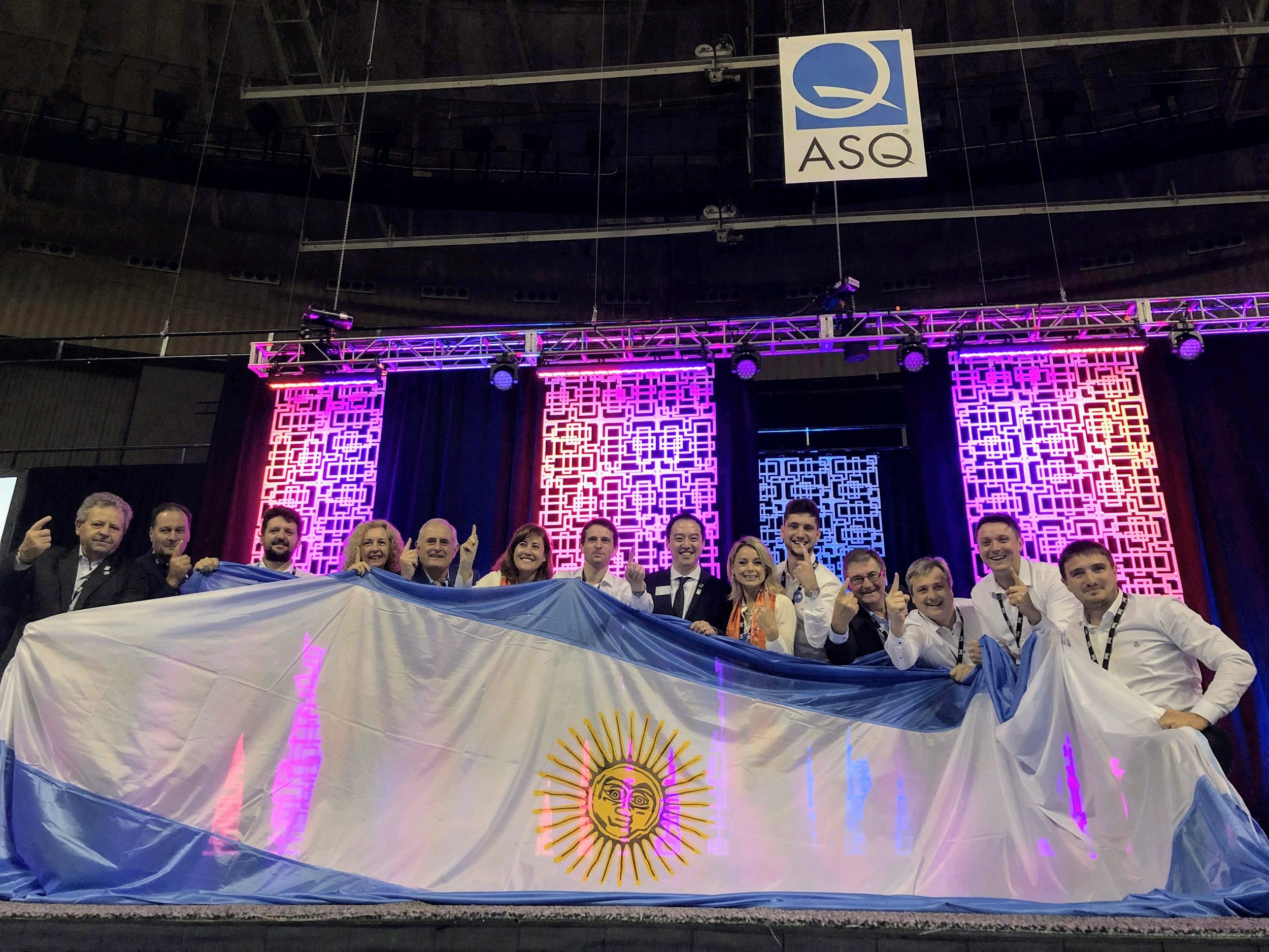 The Argentina team roaring their way onstage to be one of the teams placing Gold in the International Team Excellence Awards finals.