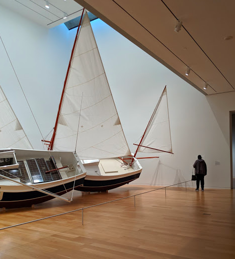 Visiting the Modern Art Museum of Fort Worth, checking out what's left of Bas Jan Alder's performance piece from the 1970s. Ultimately his boat was recovered during an overseas voyage but he was never found. The ultimate performance piece perhaps…