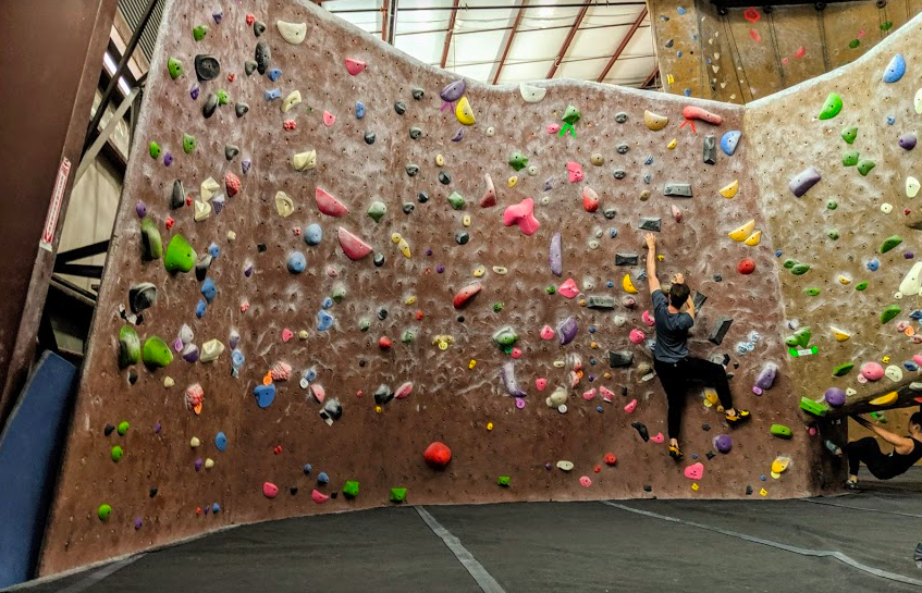 Taking in the horizon that is the 10 Degree Wall at Planet Granite Sunnyvale.