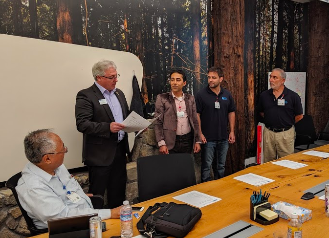 The 2019 NSPE National President Michael Aitken participating in our officers installation ceremony, welcoming in the 2019-2021 NSPE-California leaders. From left to right: Cliff Ishii, Past NSPE-California President, Michael Aitken, incoming State President Mehdi Khalili, Vice President Joseph Quinn, Treasurer Ken Discenza.