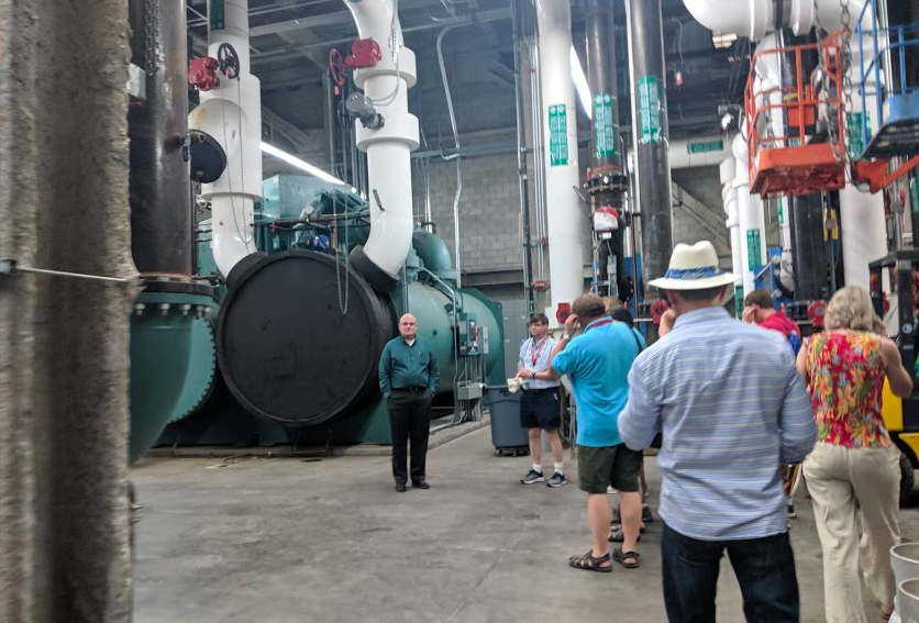 While just outside, the majority of patrons of Las Vegas were hanging out on the casino floors testing their luck, this group of licensed professional engineers were touring the chillers that help make sure entire city blocks of casinos, hotels and shopping malls stay cool when the blistering desert heat has its way with the town.