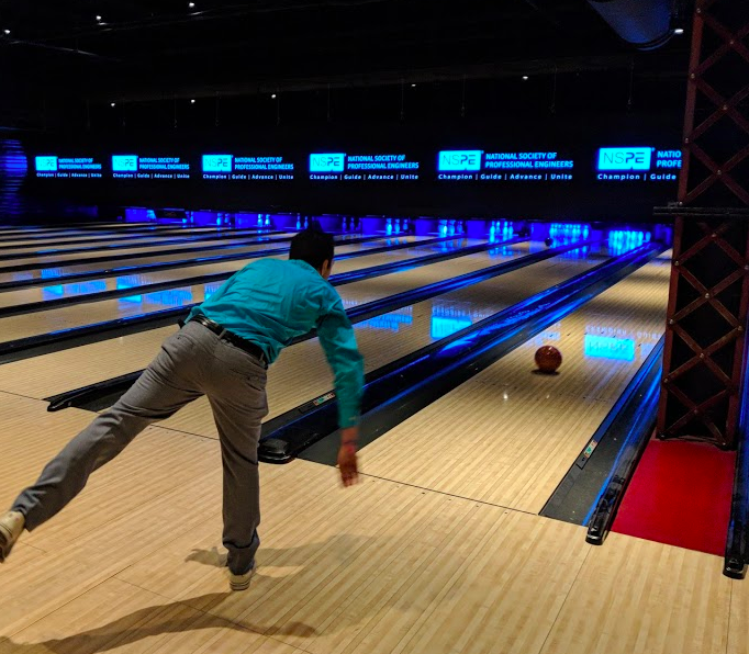 Mehdi throwing rocks straight down the middle at the NSPE evening social at Brooklyn Bowl located inside The Linq Hotel & Casino.
