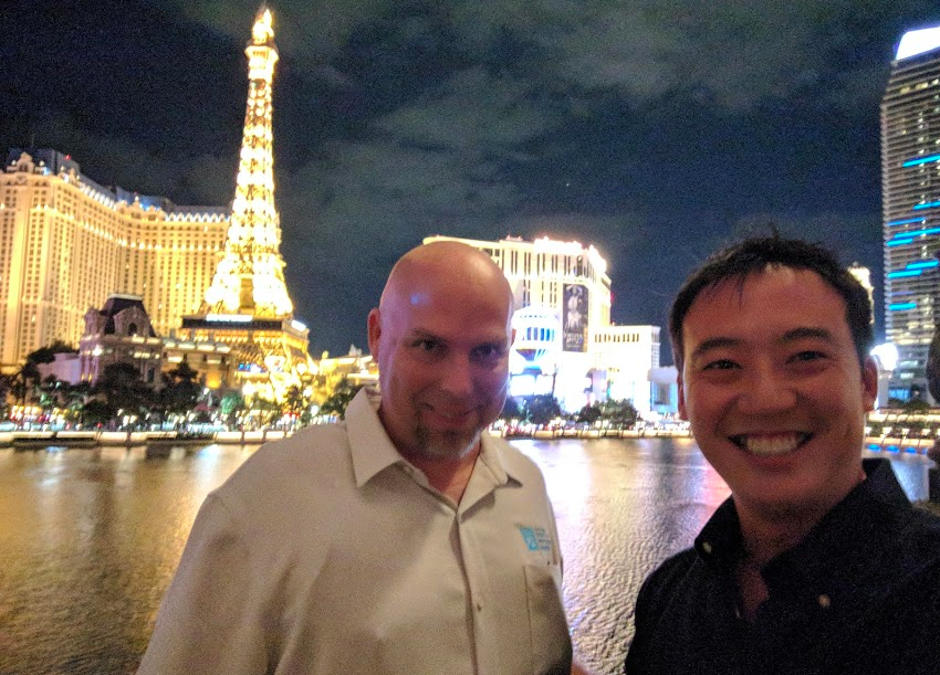 Nothing to see here. Just innocently hanging out post sushi-feast with NSPE Treasurer Brian Armstrong on the terrace of Yellowtail inside the Bellagio.