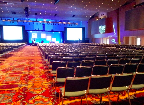 The giant main event hall at the Indianapolis Convention Center.