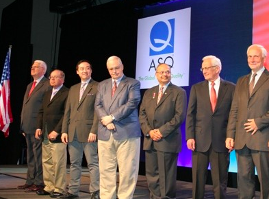 On stage with the other ASQ honorees and medalists. Among the other distinguished recipients, the second person from the right is former U.S. Secretary of the Treasury Paul O'Neill (!)    Not sure why I'm staring off into the ceiling.