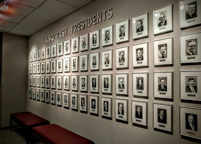 The wall of Past Presidents of ASQ (nowadays referred to as Chairs).