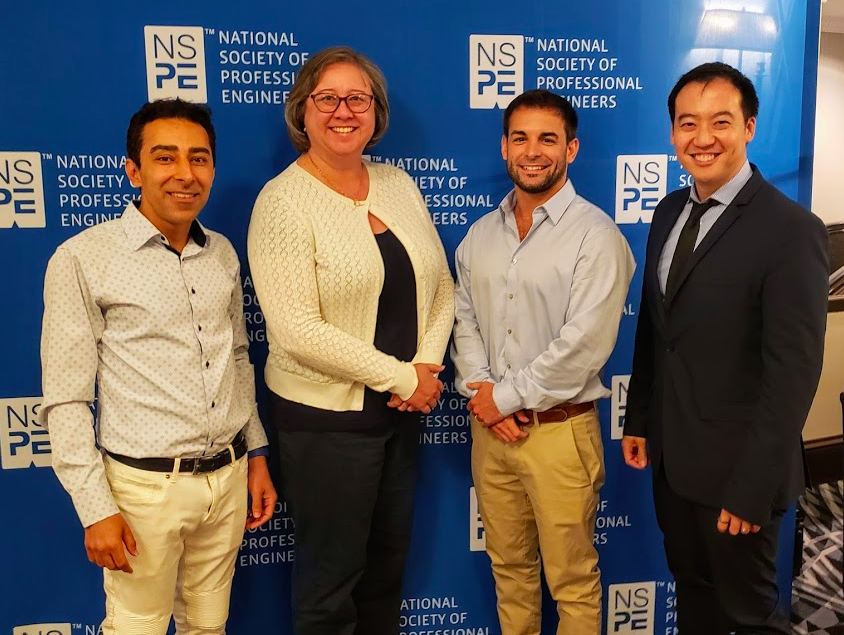 Excited to be leaving NSPE-California in good hands with (L to R): Incoming President Mehdi Khalili, Executive Director Jeanne Marie Tokunaga, and Incoming Vice-President Joseph Quinn.