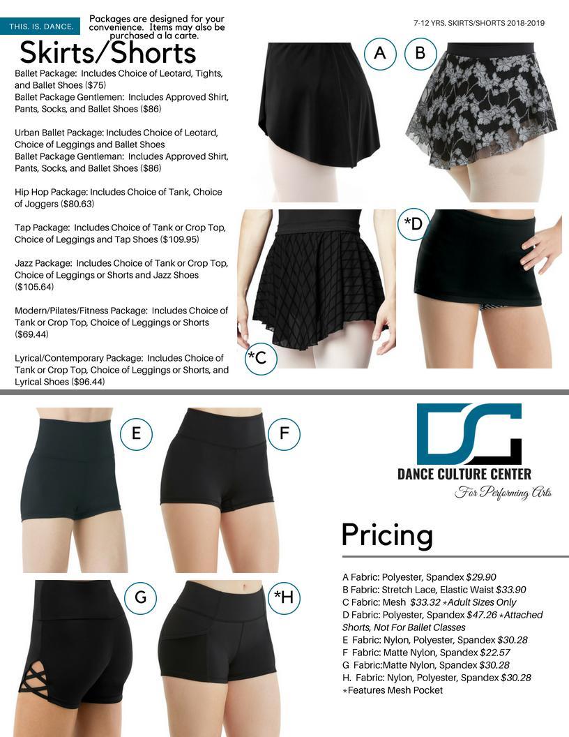 Skirts/Shorts 7-12 Yrs.