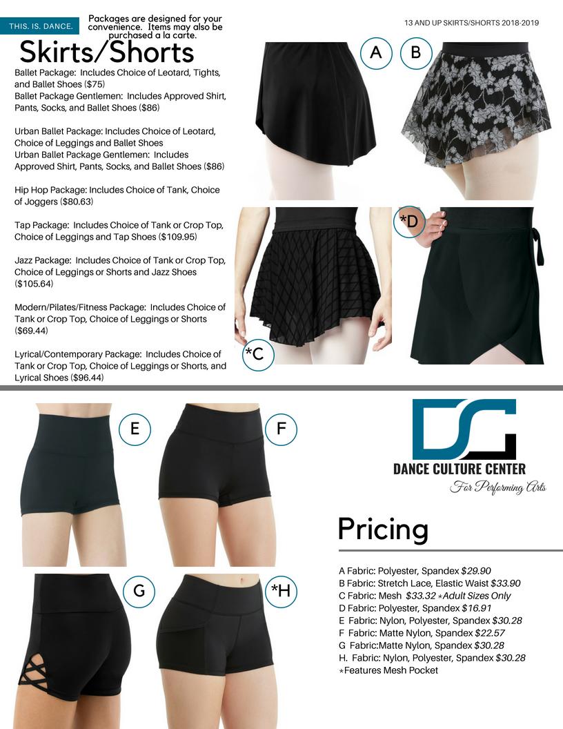 Skirts/Shorts 13-18 Yrs.