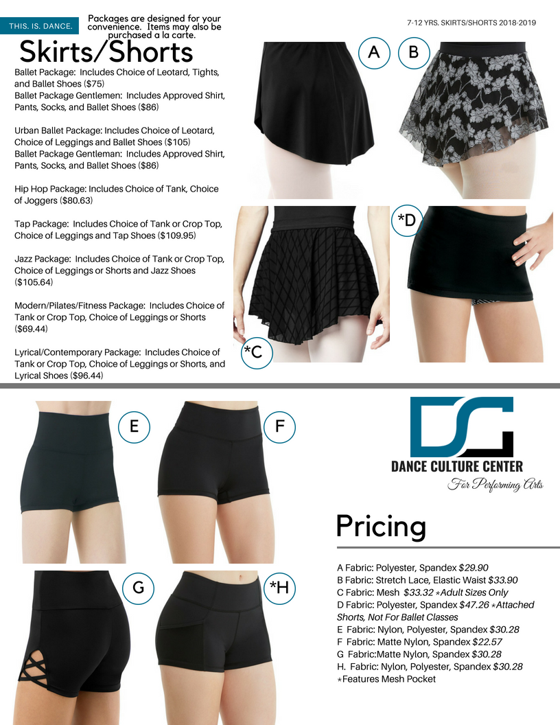 Commercial Conservatory Shorts/Skirts 7-12 Yrs.
