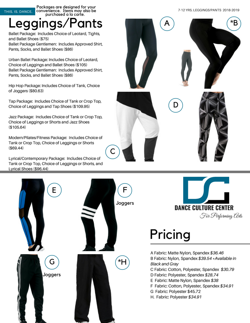 Commercial Conservatory Pants/Leggings 7-12 Yrs.