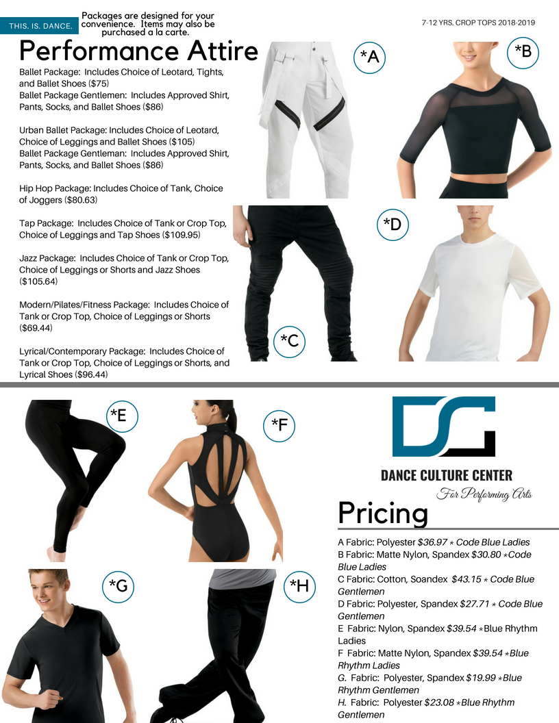 Commercial Conservatory Performance Attire
