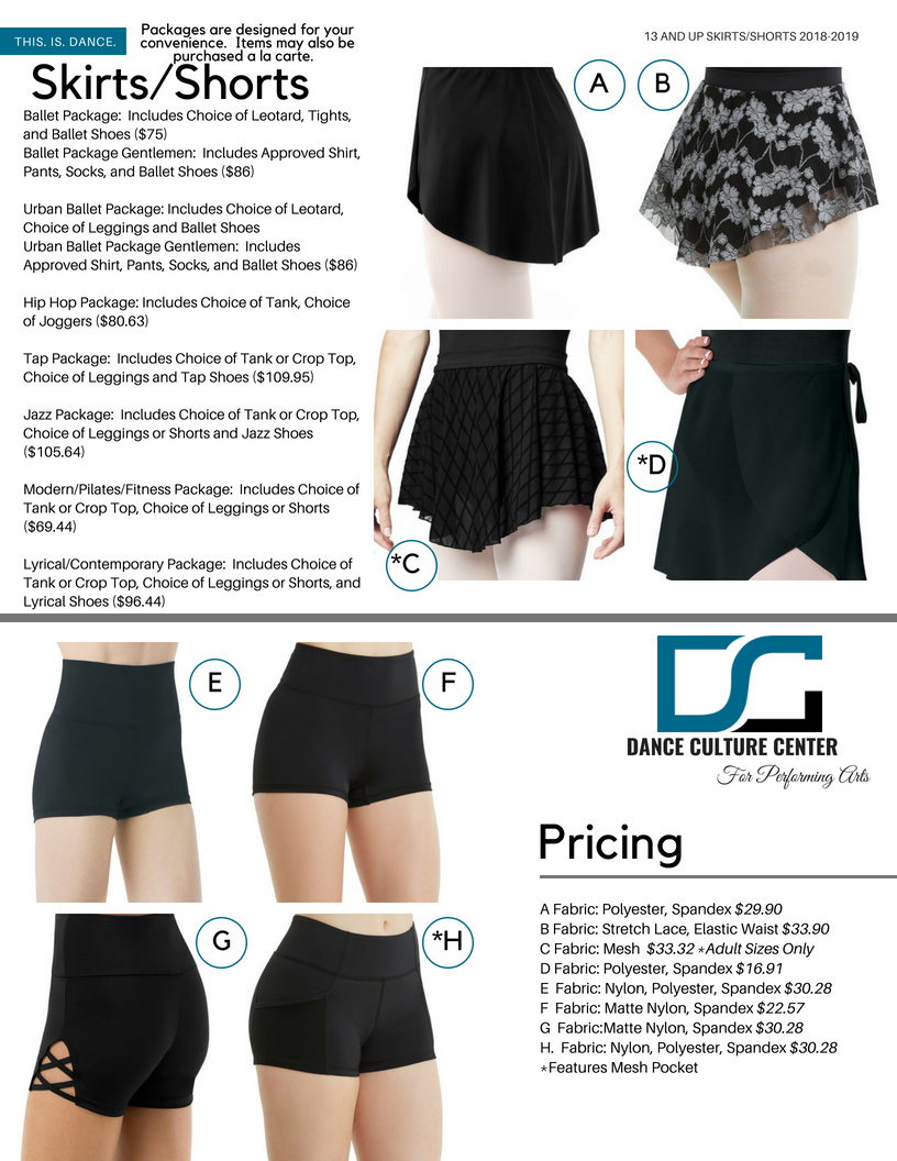 Pre-Professional Skirts/Shorts