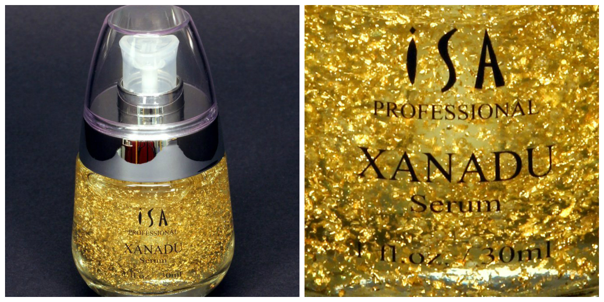 24K Gold Serum Vitamin C - PH balanced and highly absorbable. Brightens skin, combats wrinkles and dark spots. Vitamin E moisturizes.  Rose Extract soothes the skin and gives the Xanadu serum a delightful natural scent.  Hyaluronic Acid captures and holds up to 1000 times its volume in moisture to your skin.  The Perfect Vitamin C Serum for your face, made from Organic botanical extracts and leading-edge technology.